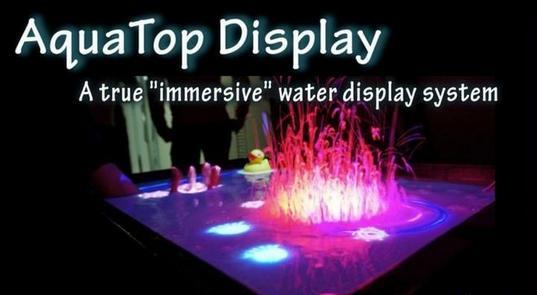 """Kinect让浴缸""""变成""""一个超大的液体触摸屏"""